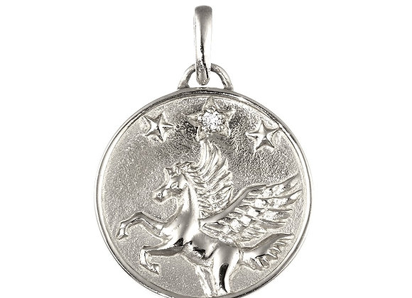 Pegasus Freedom Diamond Pendant Top, Pure Platinum