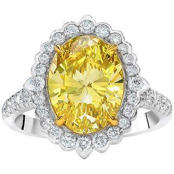 Fancy Yellow Oval Shape Diamond Ring