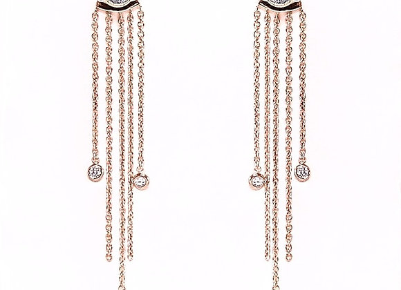 Voyage Duel Diamond Rose Gold Tassel Earring