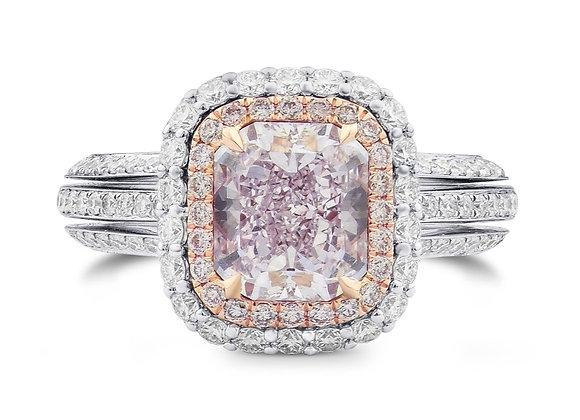Fancy Purplish Pink Radiant Diamond Double Halo Engagement Ring