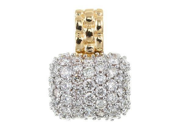 Natural Diamonds Watch Strap Style Pendant Top, 18 Karat Yellow Gold