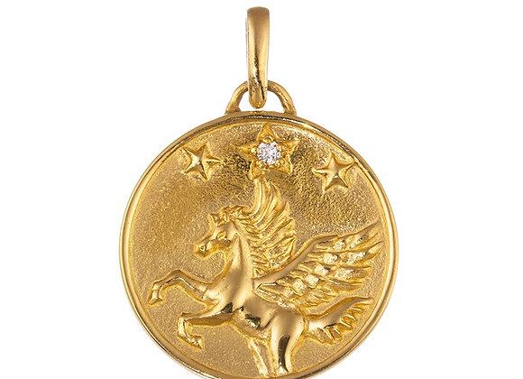 Pegasus Freedom Diamond Pendant Top, 24 Karat Pure Yellow Gold