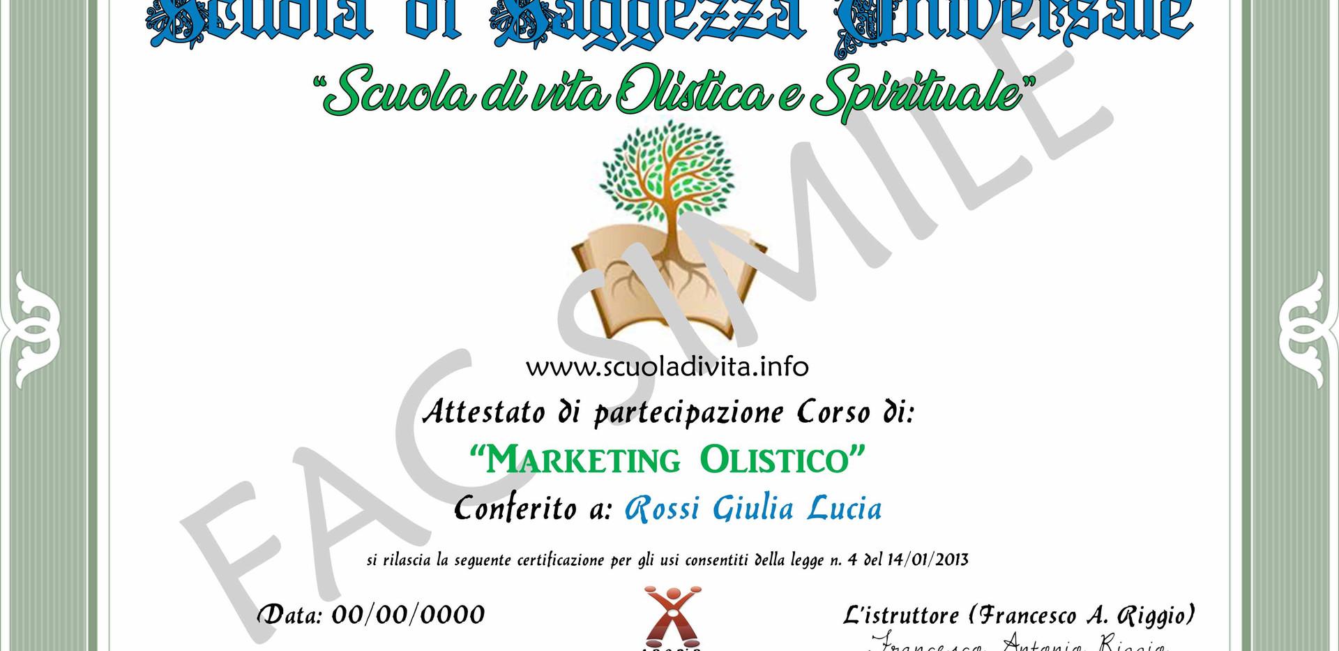 ATTESTATO DI MARKETING OLISTICO FAC SIMI
