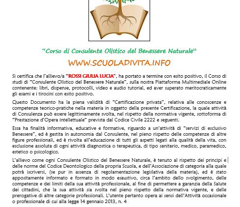 Certificato finale Corso di naturopatia.