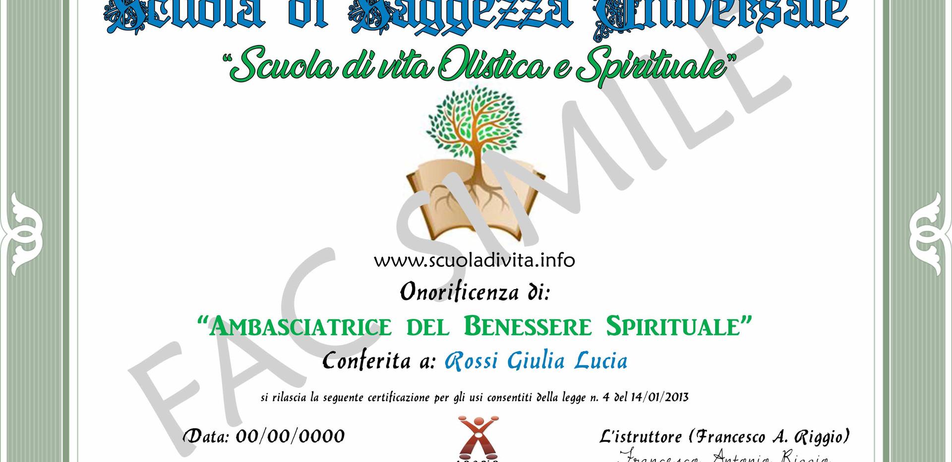 ONORIFICENZA DI AMBASCIATORE DEL BENESSE