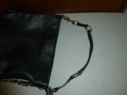 a9b9f5371a23 Coach Leather Black Carly Bag Large Silver Chain Studs 15251