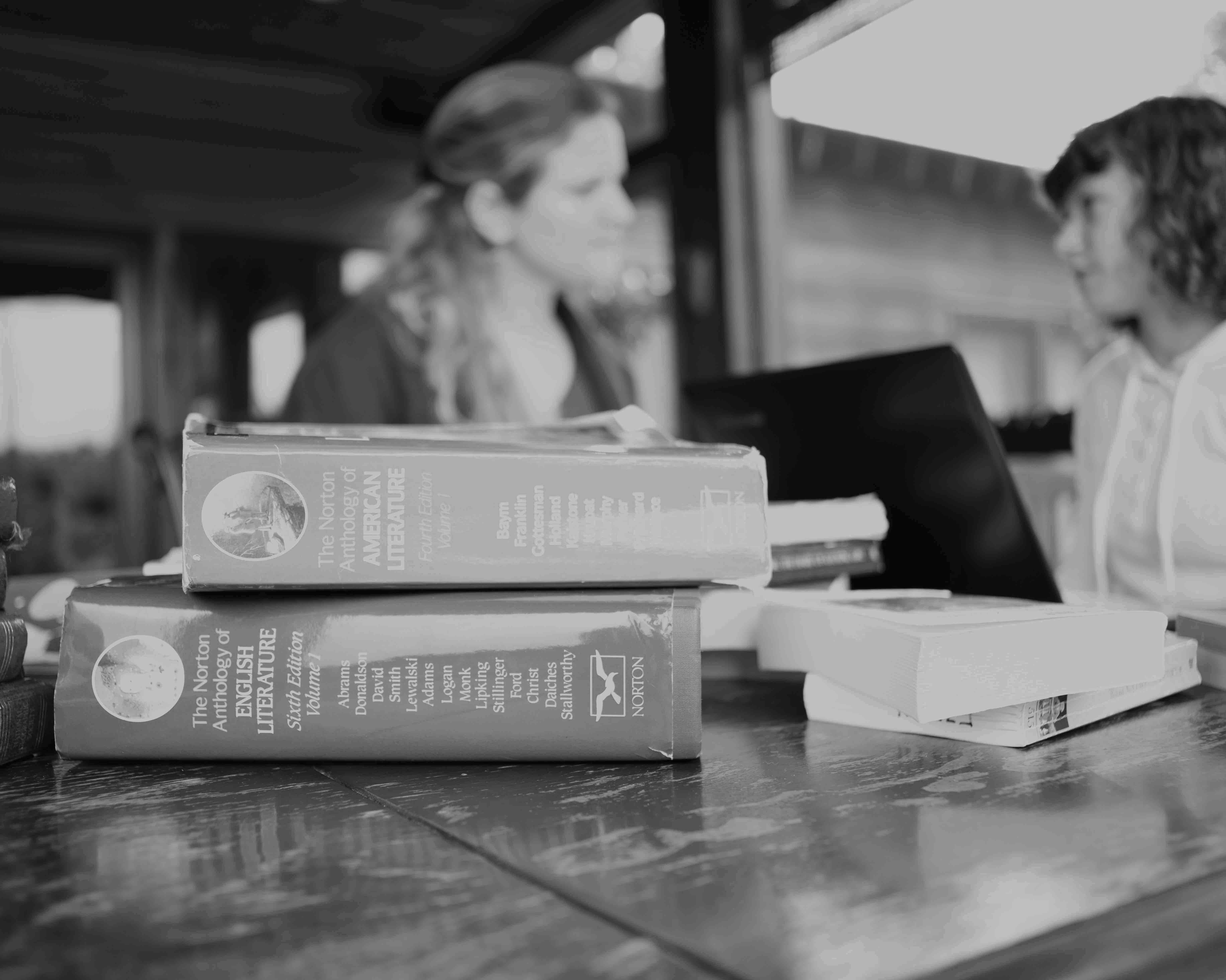 Books foreground BW