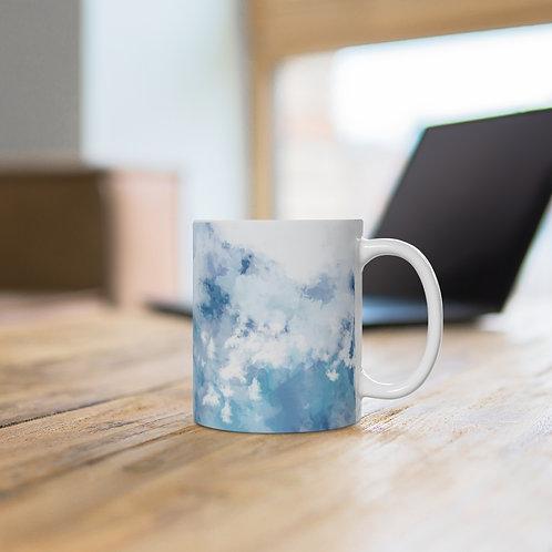 'Abstract Art' White Ceramic Mug