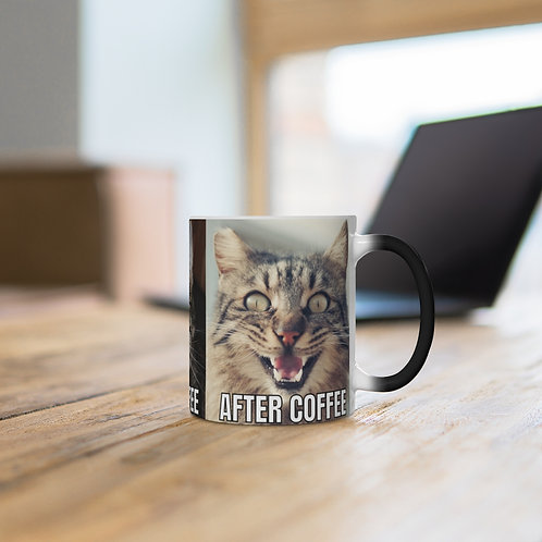 'Before Coffee, After Coffee' Meme Color Changing Mug