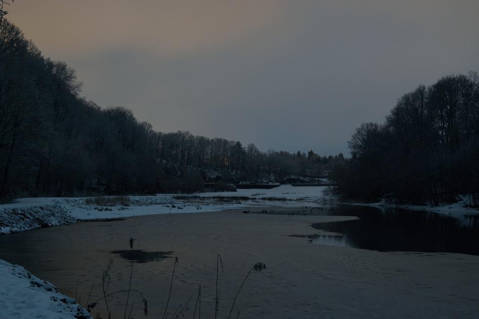 Blick Richtung Vorsperre,  vom Wanderweg Malter/ Dippoldiswalde aus, Langzeitbelichtung Anfang 2021