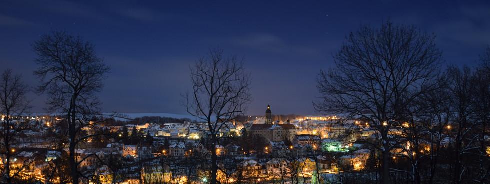Dippoldiswalde, Blick von der Reichstädter Höhe, Langzeitbelichtung, Anfang 2021