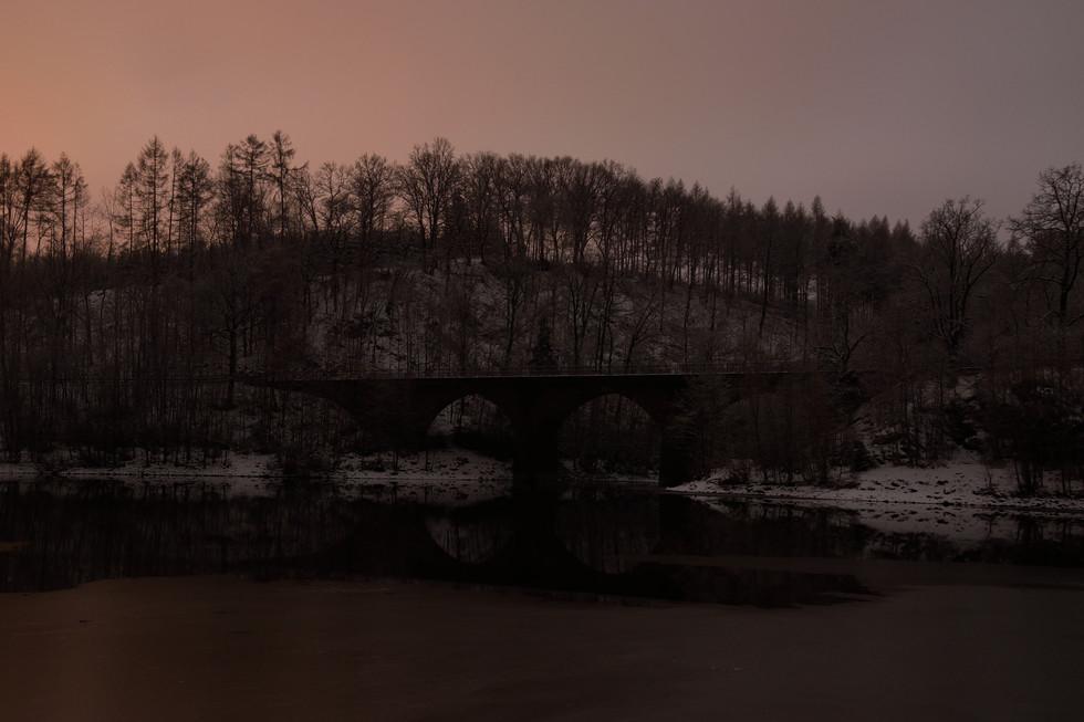 Tännichtgrundbrücke, Langzeitbelichtung Anfang 2021