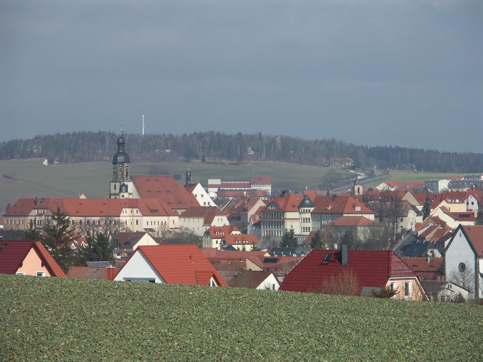 Blick auf den Dippoldiswalder Stadtkern, vom Firstenweg Dippoldiswalde nach Reichstädt, 04.03.2009