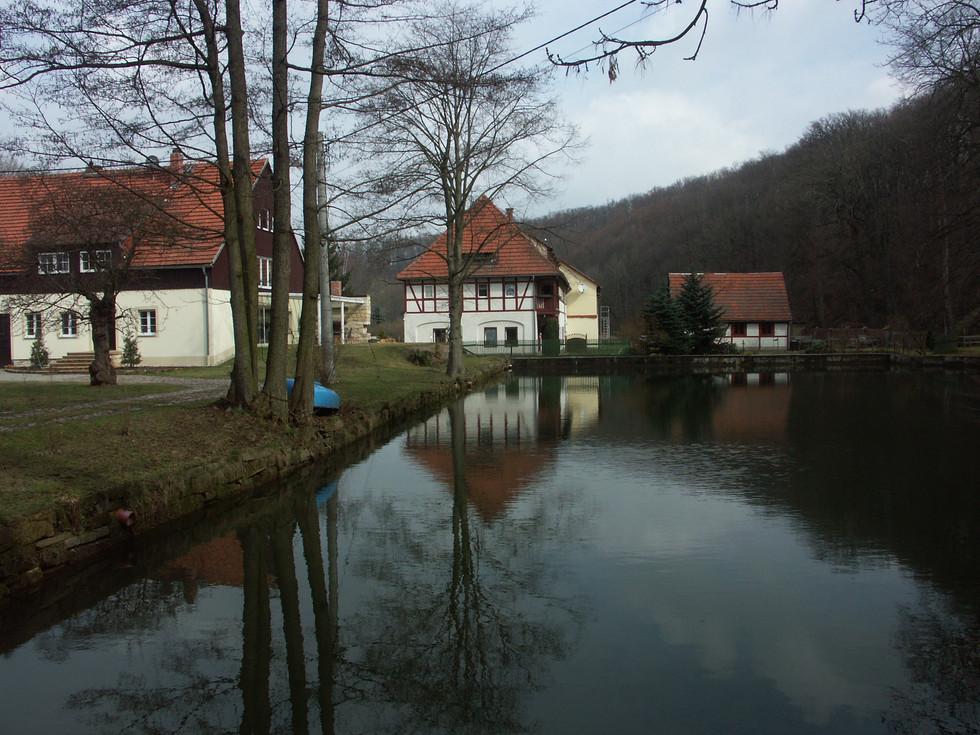 Dorfkern des Ortsteiles Berreuth, das linke Gebäude wurde auf den Grundmauern des 1947 abgebrannten Schlosses erreichtet, aufgenommen 17.04.2006