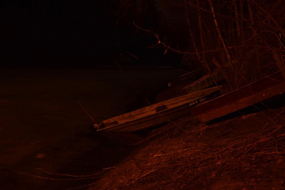 winterliche Boote im Lämmergrund, Langzeitbelichtung, Anfang 2021
