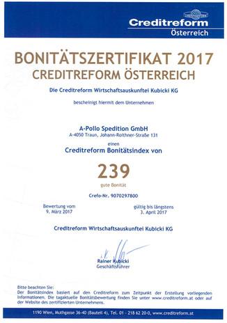 Bonitätszertifikat 2017