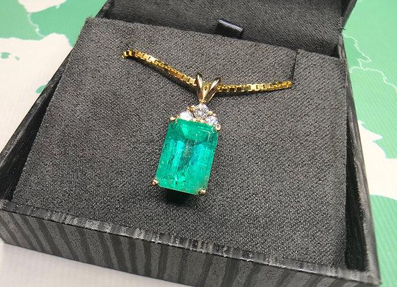 4.22 Carat Emerald and diamond pendant