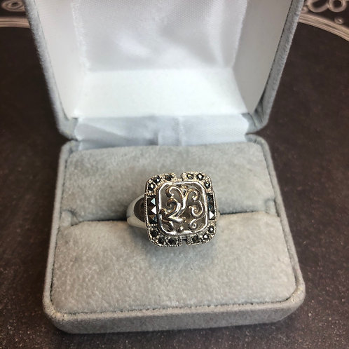 Sterling silver marcasite ring, size 9