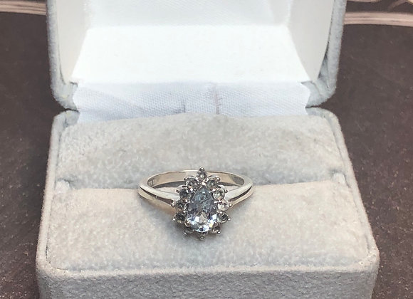 Sterling silver ring, blue cz, size 6.75