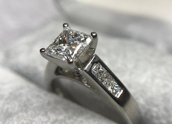 18kw Custom 1.03 Princess Cut Diamond ring