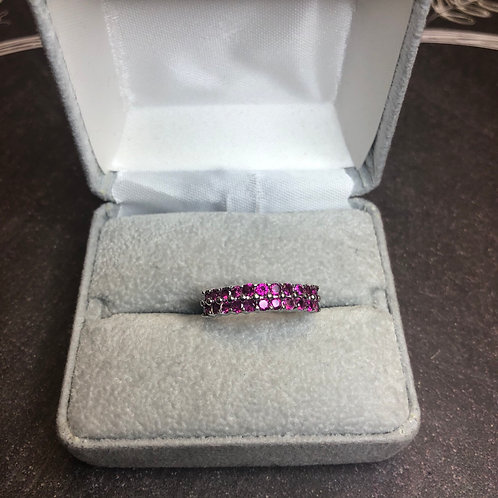 Sterling silver ring with pink, size 7