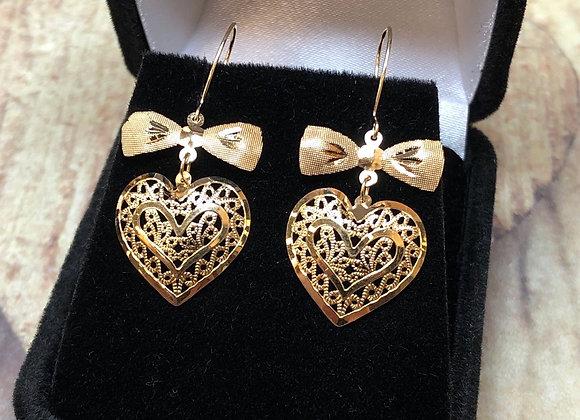 14k Gold Heart & Bow Earrings