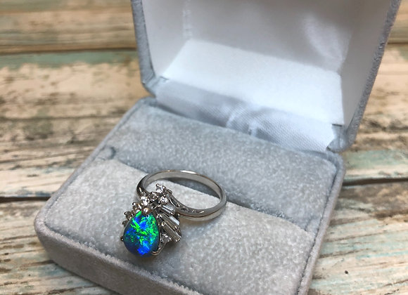 Platinum Ring with Opal and Diamonds