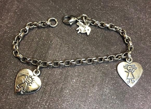 "Sterling silver charm bracelet, 7"""