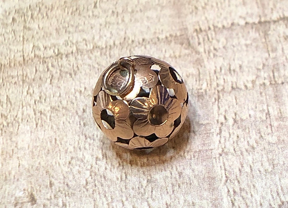14k Gold Floral Ball/ Bell Charm