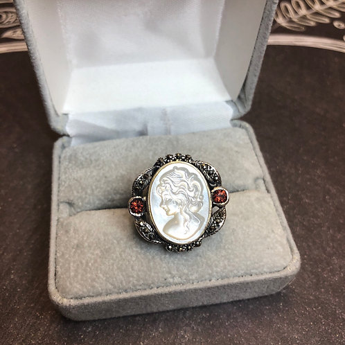 Sterling silver cameo ring, size 6.5