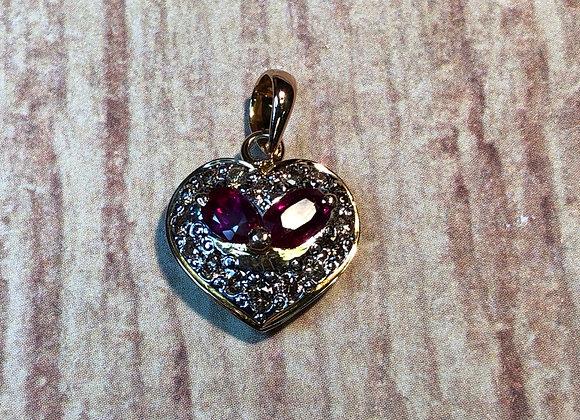 18KT Gold Ruby & Diamond Heart Pendant
