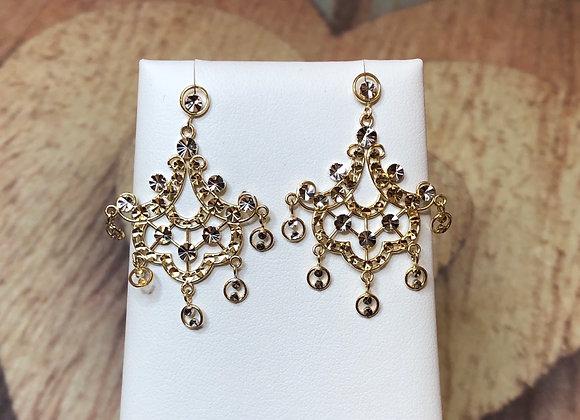 14k Gold Ornate Dangle Earrings