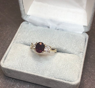 Natural Ruby and diamond ring, size 7