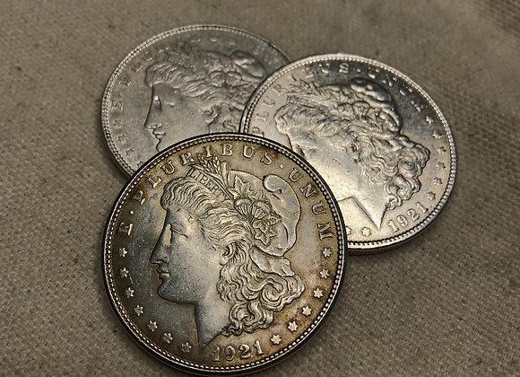 Single 1921 Circulated Morgan Silver Dollar
