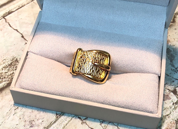 Gold Overlay Sterling Solver Buckle Band