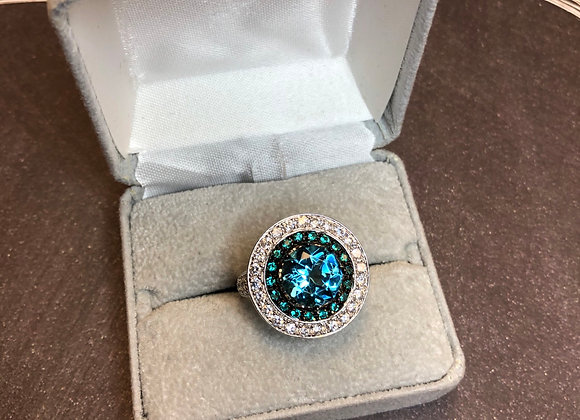 Sterling silver ring with blue cz, size 10