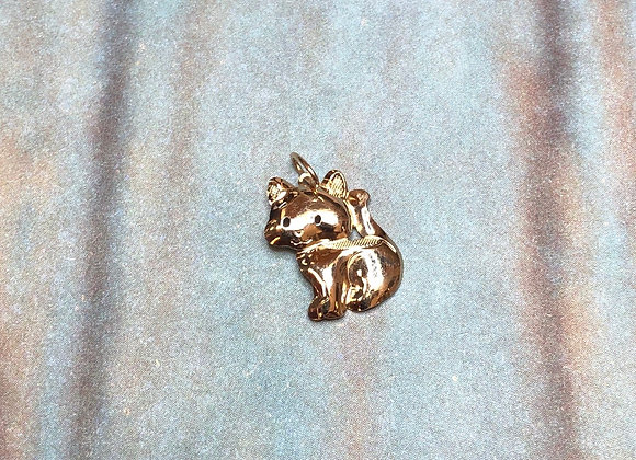 14k Gold Cat Charm