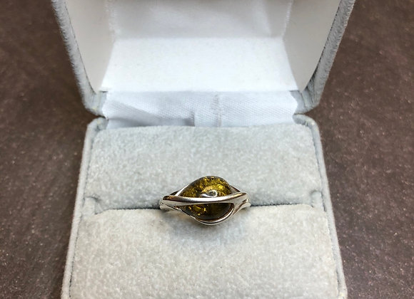 Sterling silver ring with amber, size 8