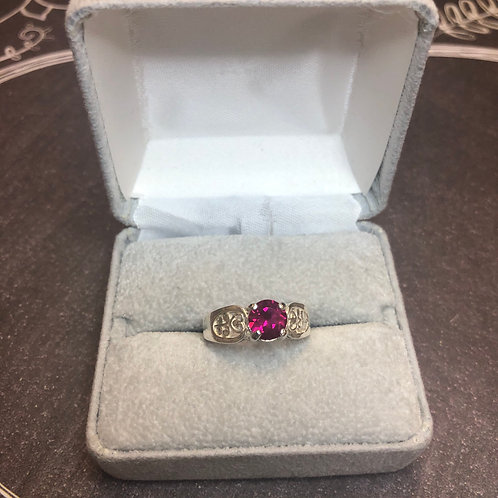 Sterling silver red cz ring, size 7