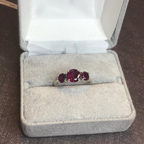 Sterling silver red ring, size 8
