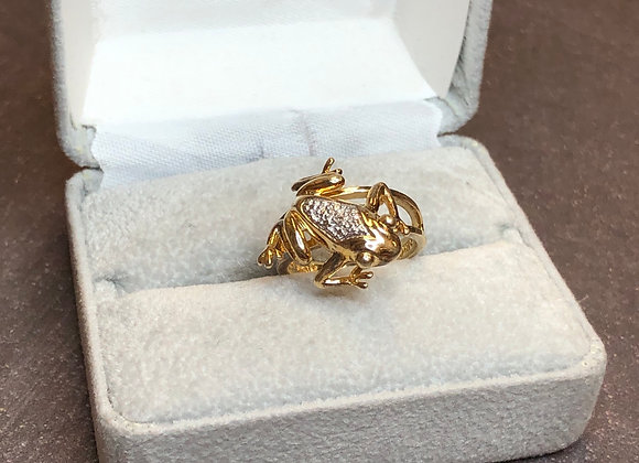 Sterling silver Gold Plated Frog Ring, size 5