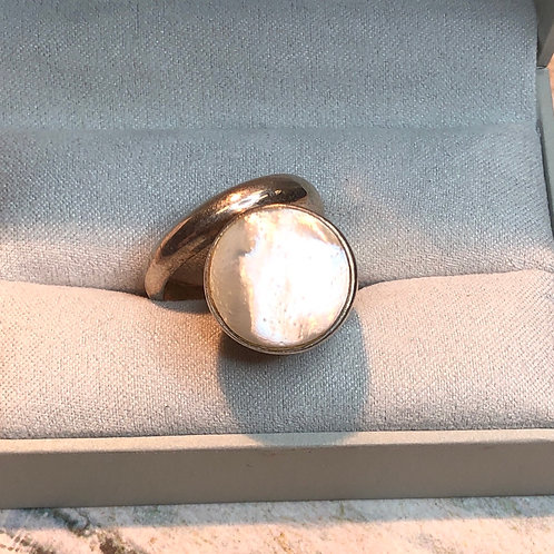 Sterling Silver Mother of Pear Ring