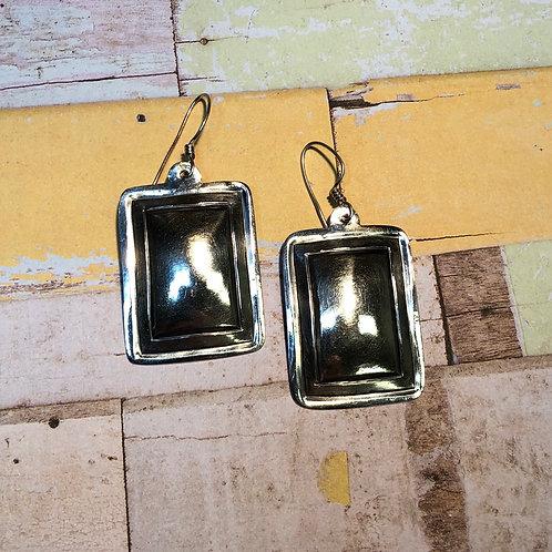 Sterling Silver Rectangular Dangle Earrings
