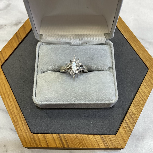 14k white gold cluster ring with 1.0 ct diamonds