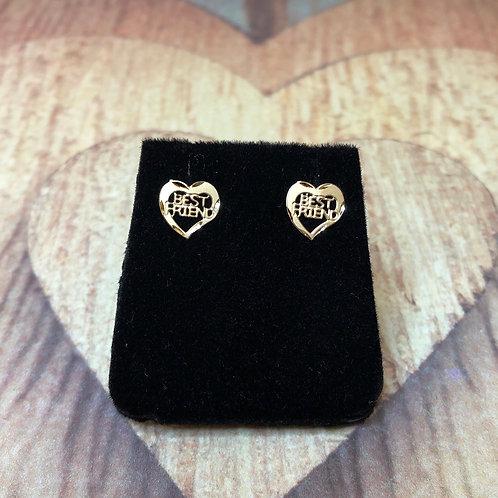 """14k Gold Heart """"Best Friend"""" Earrings"""