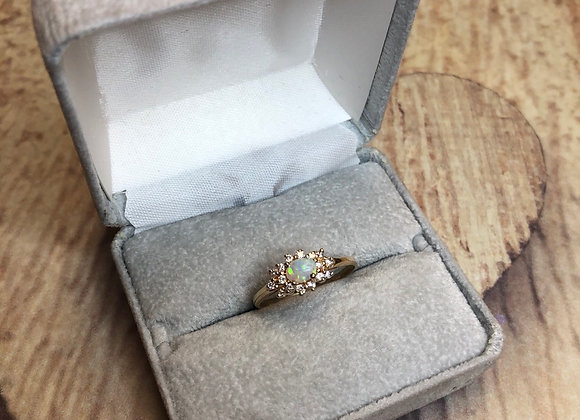 14k Opal Ring with diamonds, size 8.5