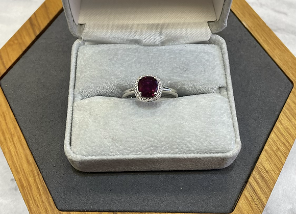 14k 1.81 ct Ruby and diamond halo ring