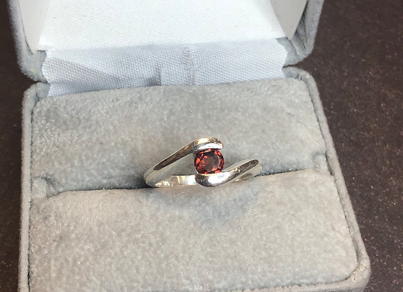 Sterling silver garnet ring, size 6.5
