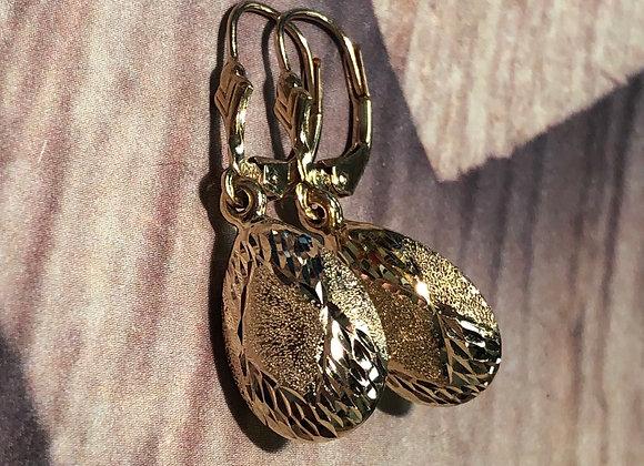 14k hollow drop earrings