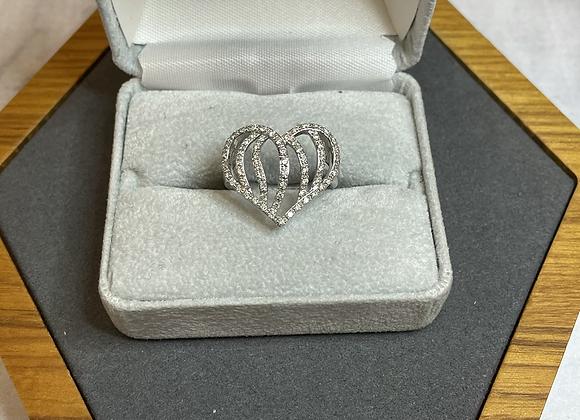 Diamond heart shaped ring 14k
